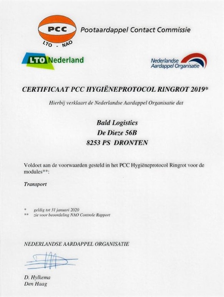 Bald Logistics behaalt NAO-certificering